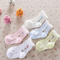 Girls Socks Real 3pairs/lot Summer 2016 New Listing Children's Socks Thin Cotton Bubble Mouth Flowers Paragraph A-cll-005-3