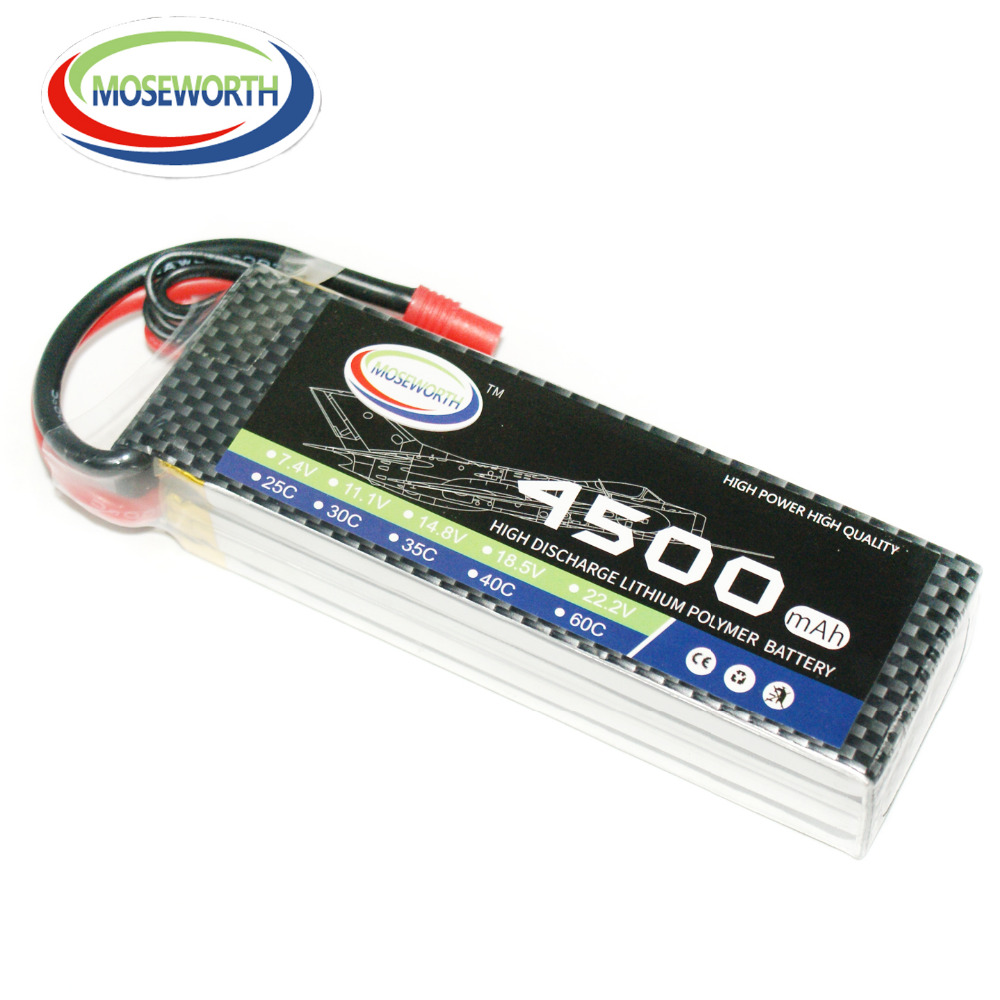 MOSEWORTH RC LiPo Battery 4S 14.8V 4500mAh T/XT60 60C for RC models Aircraft Quadcopter Helicopter RC Drone AKKU moseworth 4s rc lipo battery 14 8v