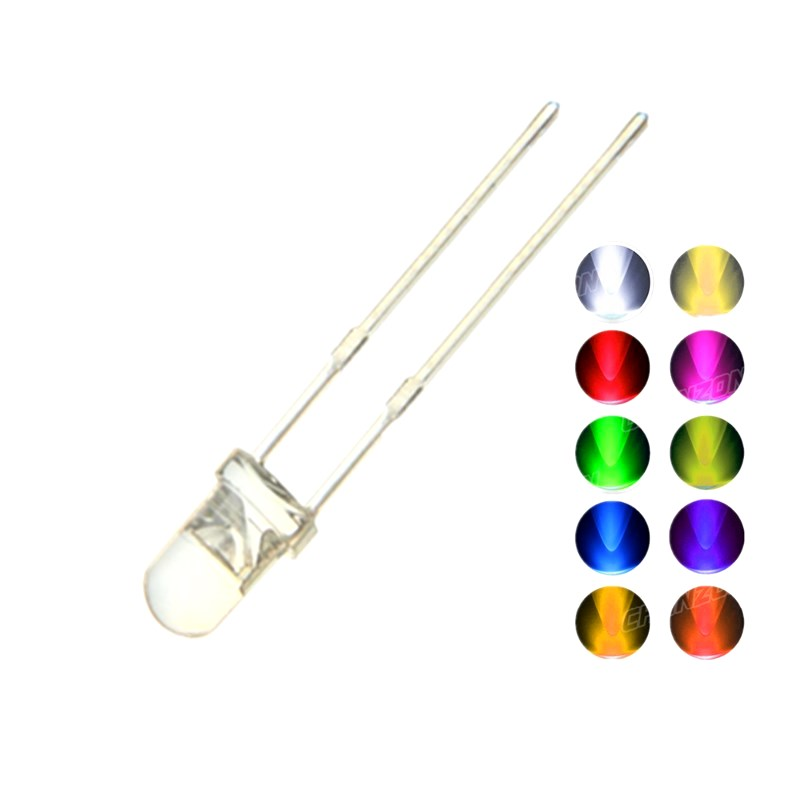 100PCS <font><b>5MM</b></font> <font><b>LED</b></font> Diode Kit <font><b>3V</b></font> DIY Set Light Emitting Warm White Green Red Blue Yellow Orange Purple UV Pink Ultra Bright 20mA image