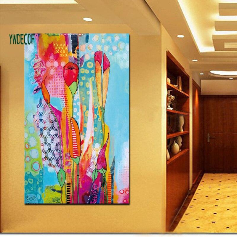 imprim abstrait mixte couleur fleur fond psych d lique peinture l 39 huile sur toile peinture. Black Bedroom Furniture Sets. Home Design Ideas