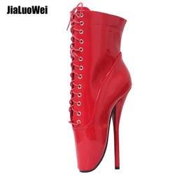 """Jialuowei Extreme 18 см/7 """"Высокие каблуки шпильки экзотический Фетиш пикантные блестящие лакированные острый носок ботильоны на шнуровке Балетные"""