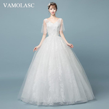 VAMOLASC Flowers V Neck Lace Appliques Ball Gown Wedding Dresses Bow Sash Half Sleeve Backless Bridal Gowns