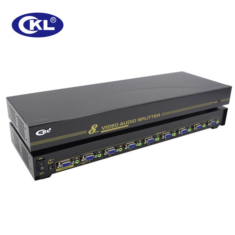 CKL 2/4/8 Port VGA Splitters With Audio 450Mhz 2048*1536 Supports DDC DDC2 DDC2B Transmission Distance Up To 75M Metal Case