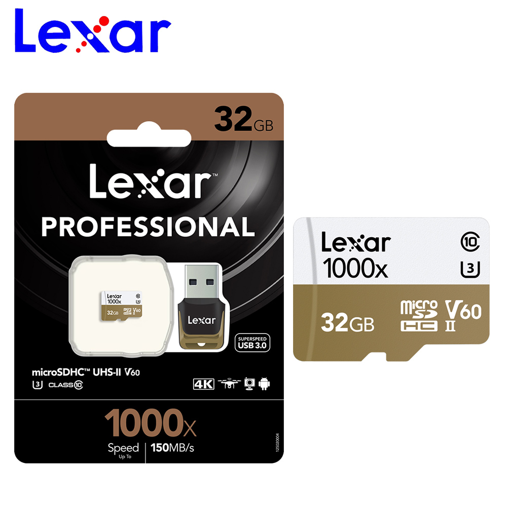 Lexar micro sd card 32gb 64g SDXC memory card 128g 256g UHS II U3 c10 TF flash free micro sd card reader for Gopro Sports camera