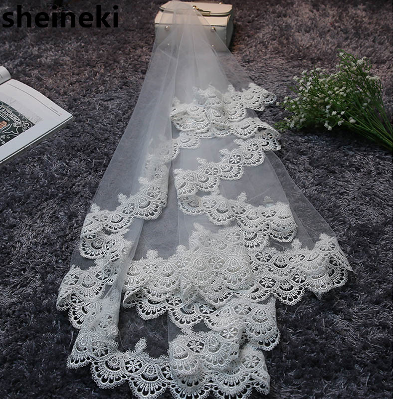 In Stock 2019 Cheap Lace Edge 1.5 M Long Wedding Veils Bridal Veils Wedding Accessories High Quality