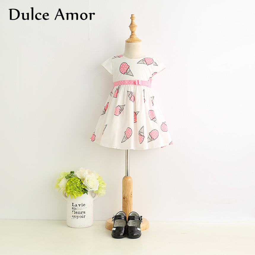 Dulce Amor Summer Cute Girls Dress Kids Baby Girls Clothes Short Sleeve Ice Cream Print Princess Dress Kids Dress For Girl