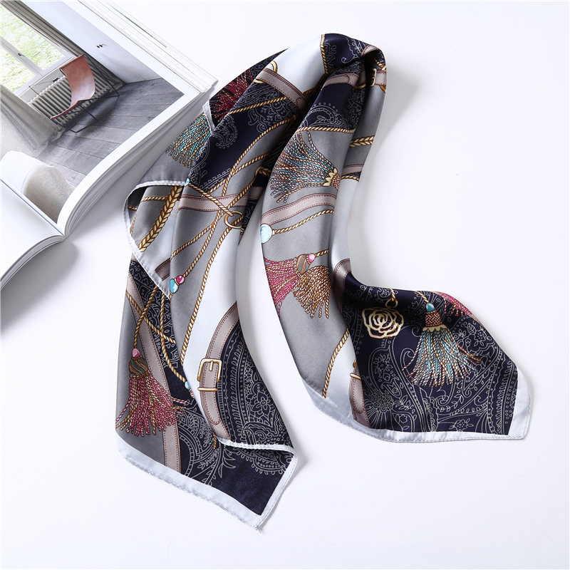 Luxury Brand Chain Print Silk Scarf Women Head Scarfs For Ladies Suqare Neck Scarves Foulard Silk Shawl Lady`s Wraps