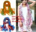 Luxo de 50% de seda de impressão cachecol cachecol 180 * 100 cm 20 cores L677