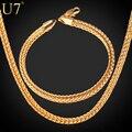 U7 Позолоченный Цепь Колье Браслет Ювелирные Наборы Колос Цепочки Ожерелье Для Мужчин Оптом S609