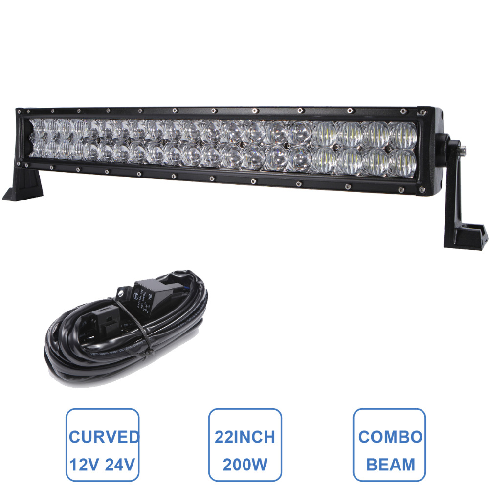 22'' 200W Curved LED Light Bar Off Road Tractor Boat 4WD 4x4 Truck SUV ATV UTE 12V 24V Van Camper Pickup Wagon Driving Headlight 32 300w curved led bar combo offroad driving light atv suv 4x4 truck trailer camper tractor pickup wagon utv 4wd off road lamp