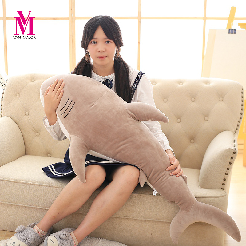 цены New 1pcs 100cm Big Size Shark Plush Toy The Cute Simulation Shark Soft Suffed Animals Doll Pillow Kids Baby Toy Christmas Gifts