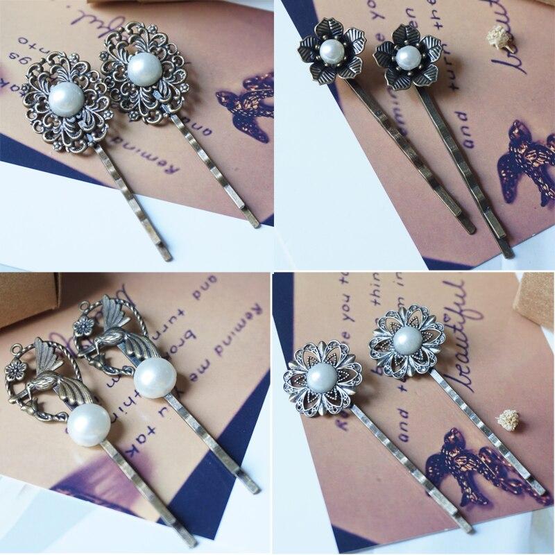 Woman Pearl Hairpins Retro Vintage Bronze hair Clips Pins slide Hair Ornaments Hair Jewelry Accessories