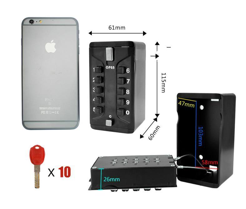 Free Shipping Metal Household Key Safe Combination Portable Wall-Mounted Key Storage Key Safe Box Combination Lock ospon outdoor key safe box keys storage