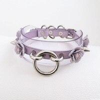 Handmade layered sereno trasparente a spillo in pelle spikes o roung choker collana del collare del fiore