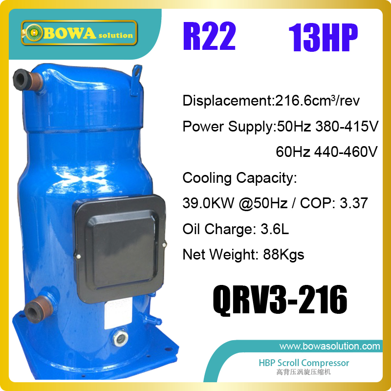 13HP refrigeration scroll compressors are installed in kinds of commerce chillers and brine units, quiet and high coefficient em 413 liquid line filter driers are installed in kinds of cold room equipments or refrigeration tunnel equipments