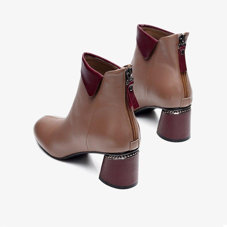Plus Zapatos Mujer Taille marron Botas Court Cuir Chunky Talons Hiver En Mignon Chaussures Pour Femmes Chaussons Cheville Bottes Femme Pu 2018 Botines Noir SaUwRxqTw