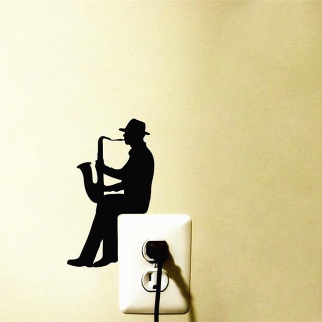 Hiện đại Saxophone Jazz Âm Nhạc vinyl Decal tường sticker Trang Trí nội thất