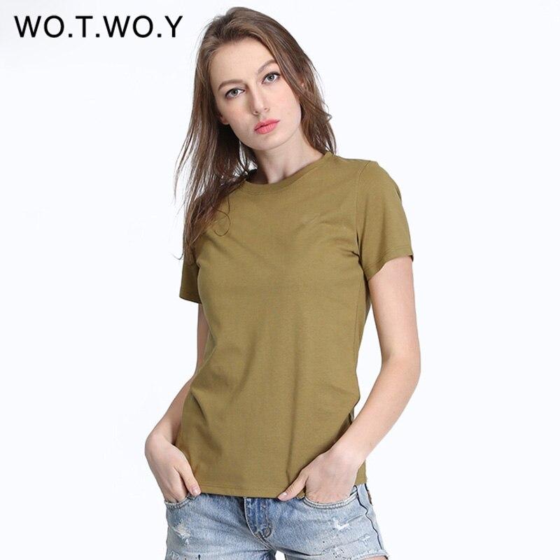 Haute Qualité 100% Coton T-shirt Femmes Aucun Élastique À Manches Courtes Mode De Base D'été T-shirt Femme Roung Col Tout-Allumette T203
