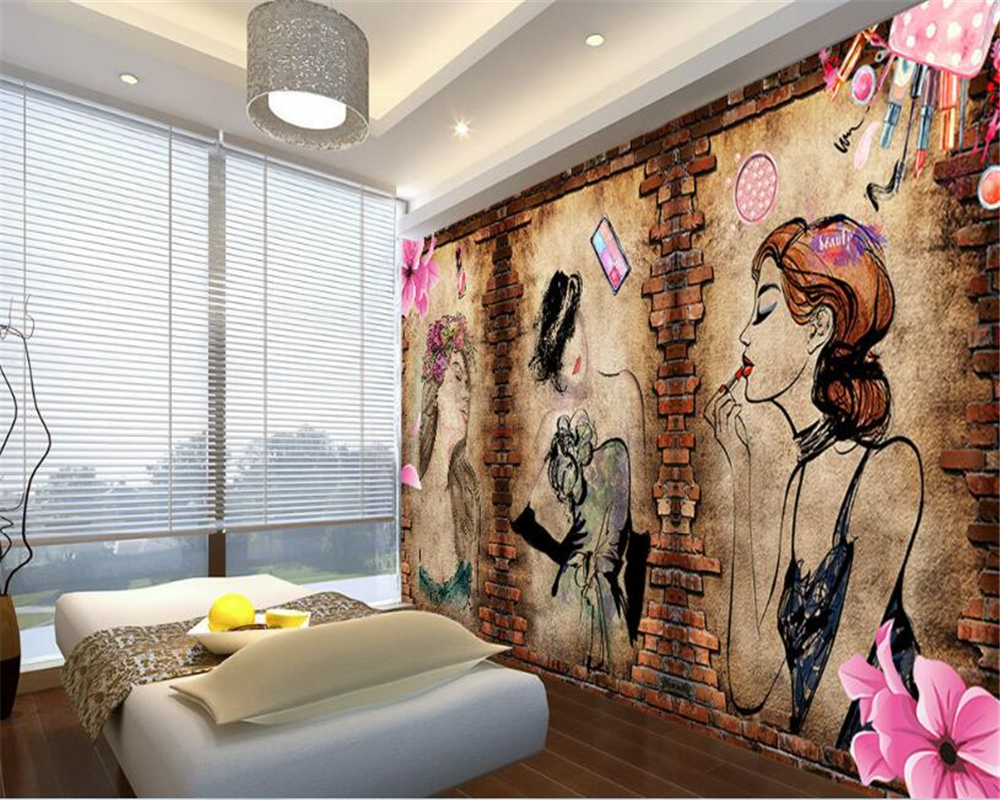 beibehang Fashion classic modern silk cloth <font><b>wall</b></font> <font><b>paper</b></font> <font><b>sexy</b></font> cosmetics shop beauty shop background papel de parede <font><b>3d</b></font> wallpaper image