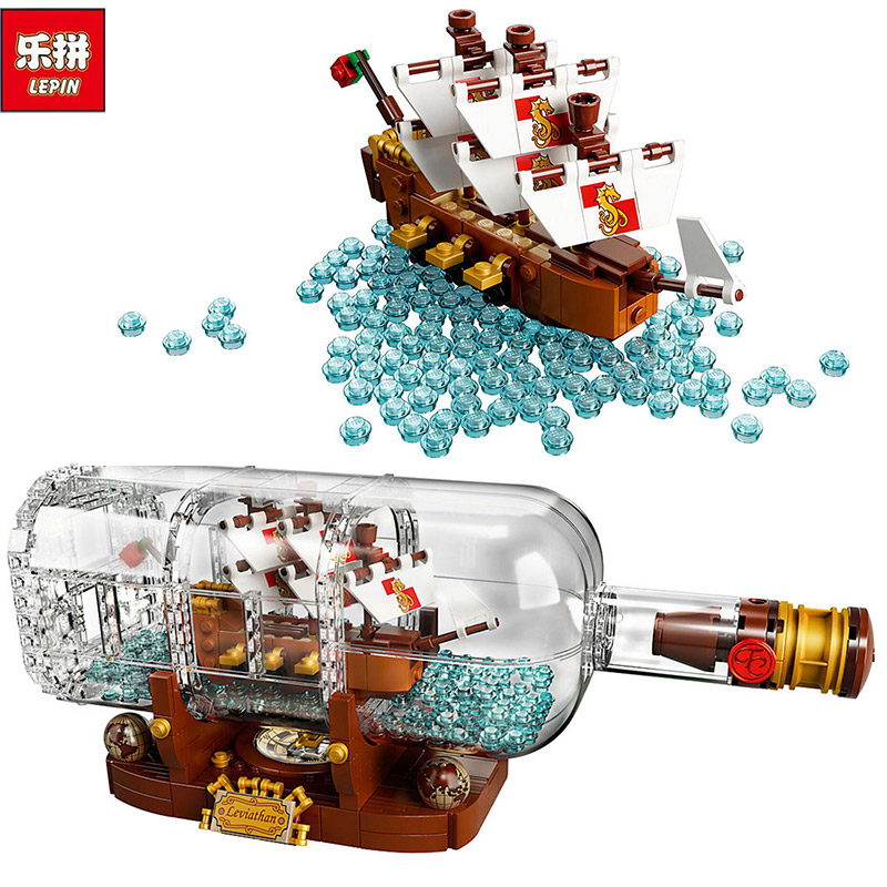 Lepin 16051 Pirates of the Caribbean Pirates Series 1078Pcs bottles in the boat Building Blocks Bricks DIY toys 21313 for kids lepin queen anne s revenge 1151pcs mini bricks set sale pirates of the caribbean blackbeard building blocks toys for kids