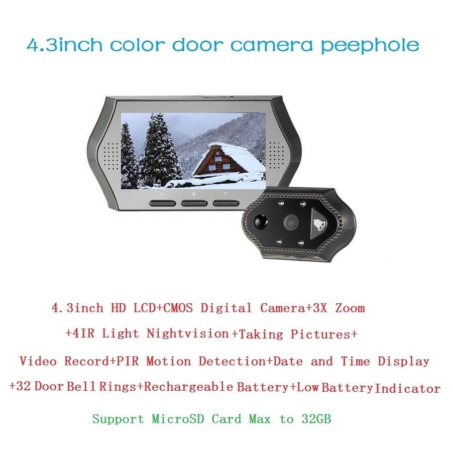 ФОТО 2017 olho magico 4.3 inch LCD Portuguese Menu IR night vision door peephole PIR Motion Detection 32 Rings 3X Zoom electronic eye