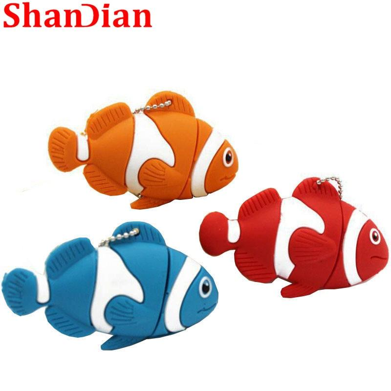 SHANDIAN Wedding Gifts Promotions Cute Cartoon Animal Fish Usb Flash Drive Memory Stick Pen Drive Pendrive 4G 16G 32G 64G  Creat