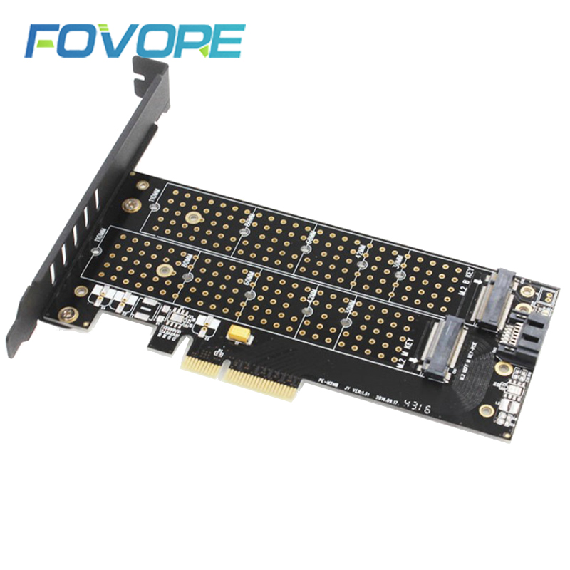 M.2 NVMe SSD NGFF TO PCIE X4 adapter M Key B Key dual interface card All Size m2 card adapter Support PCI Express x4 2230-22110