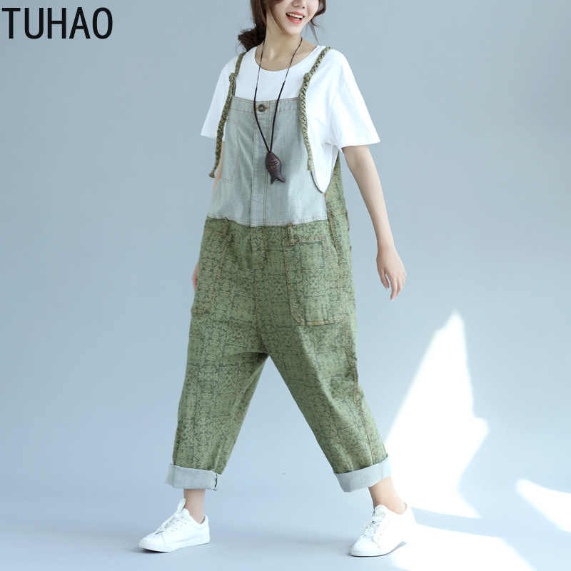 TUHAO Jeans monos mujer novio gota entrepierna Denim overoles pantalones vintage pierna ancha Harem Pantalones talla grande LLJ