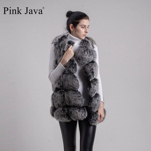 Pink Java QC8046 BIG SALE FREE SHIPPING  hot new  natural fox fur long vest  real fox fur gilet winter high quality women fox 3