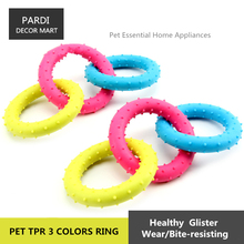 TPR eco-friendly pet toy Rubber 3 colors rings bite molar relax pet toy molar toy bite resistance 1pc/lot