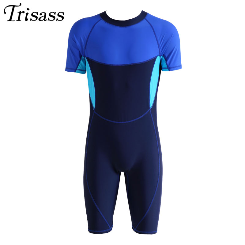 2017 New Mens Swimming Professional Swimwear One Piece Boys Sports Ventilate Quick Dry Elastic Surfing Bodysuit Assorted Colors