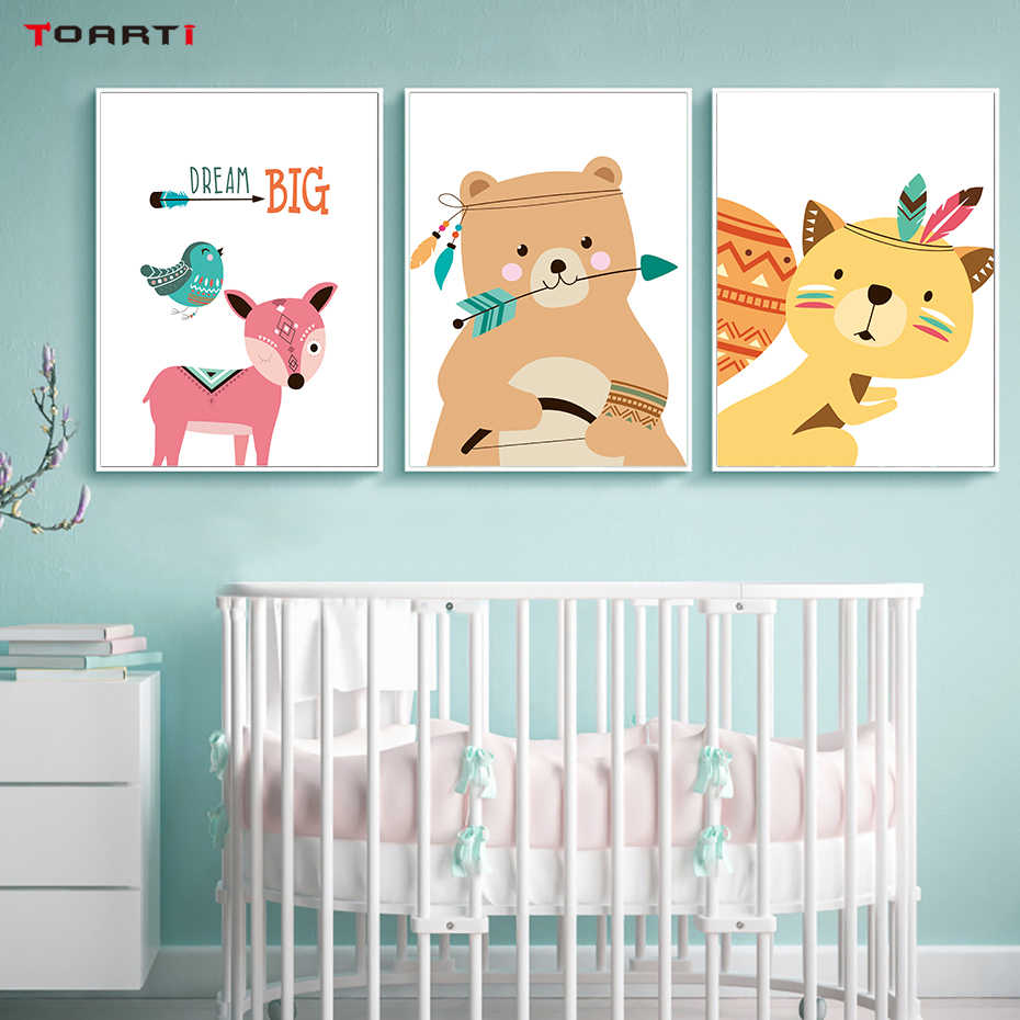 Cartoon Bear Deer Fox Dream Canvas Art Painting Posters And Prints Nordic Animals Wall Pictures For Kids Room Wall Art Decor