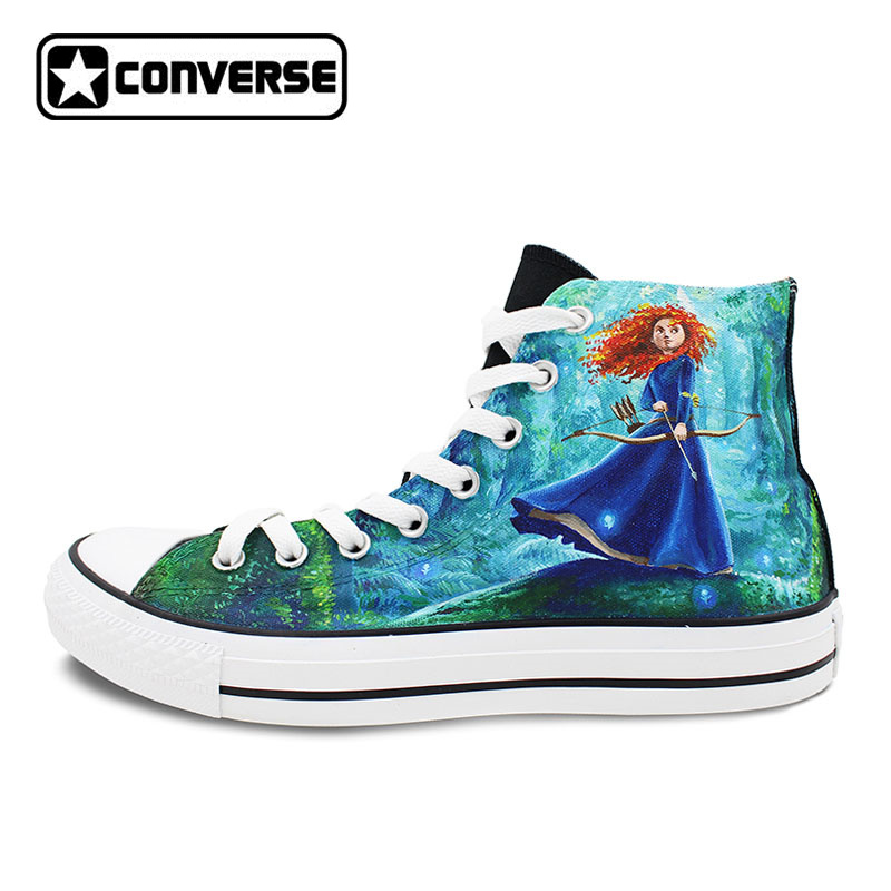 Sneakers Women Men Converse All Star Brave Princess Merida Design Custom Hand Painted Canvas Shoes Man Woman Birthday Gifts classic original converse all star minim musical note design hand painted shoes man woman sneakers men women christmas gifts
