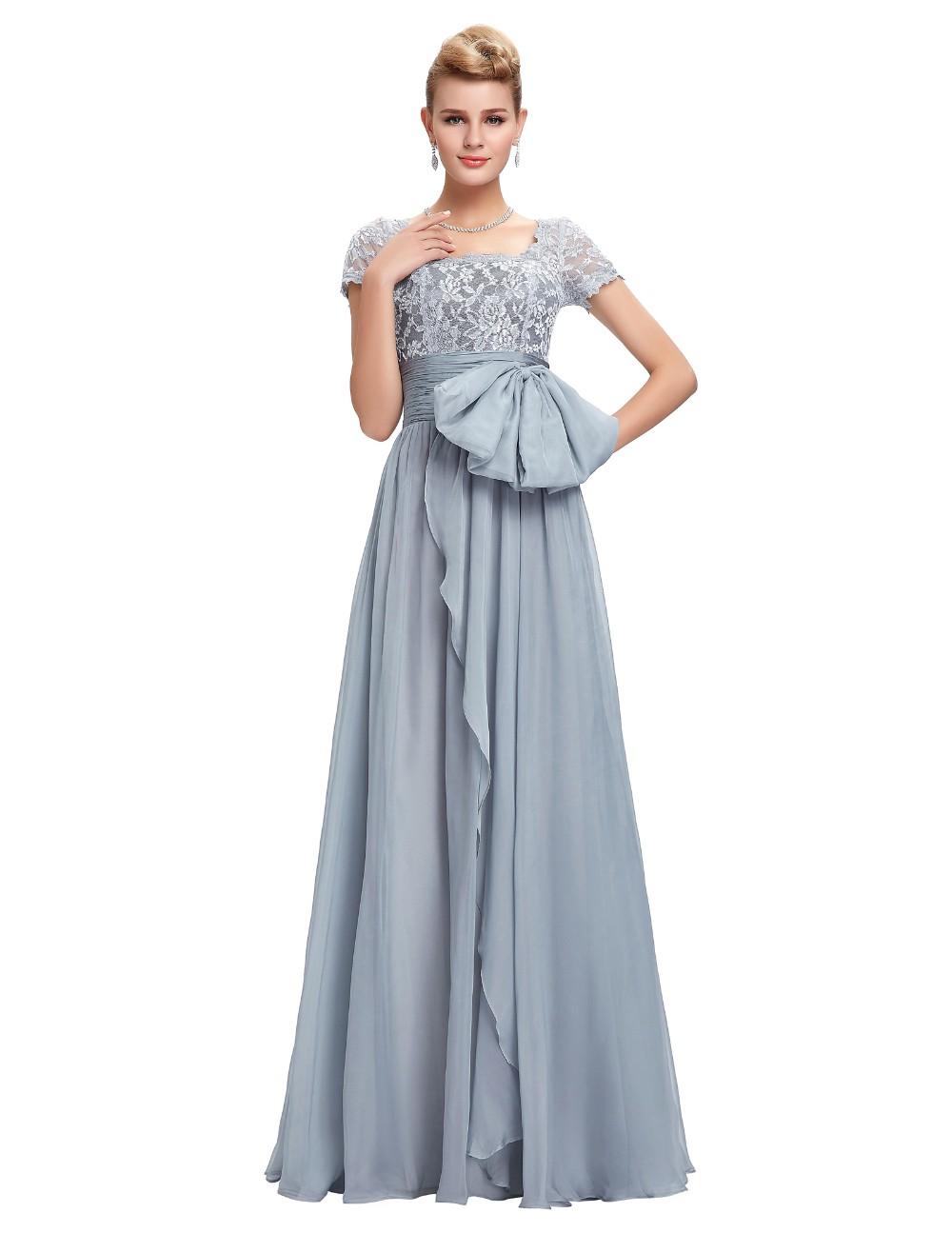 Grace Karin Chiffon Lace Elegant Long Evening Dresses Grey Formal Evening Gowns robe de soiree longue GK4445 5