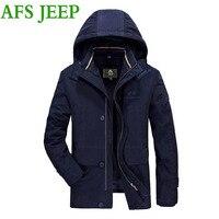 JEEP AFS גברים הגעה עבה מעיל גברים מעיל החורף חם מאוד מעיל גברים מעיל מעיל כיס רב כותנה ארוך בסדר גודל גדול 235