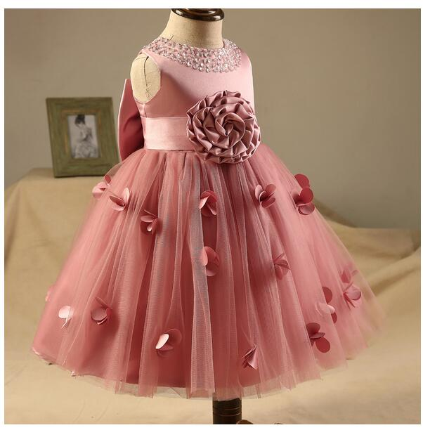Baby Girls Pageant Formal Dresses 2017 Flowers Big Bow Bead Infant Girls Princess Tutu Dress Gauze Kids Birthday Wedding Dresses baby girls pageant formal dresses 2017 flowers vest satin infant girls princess tutu dress gauze kids birthday wedding dresses