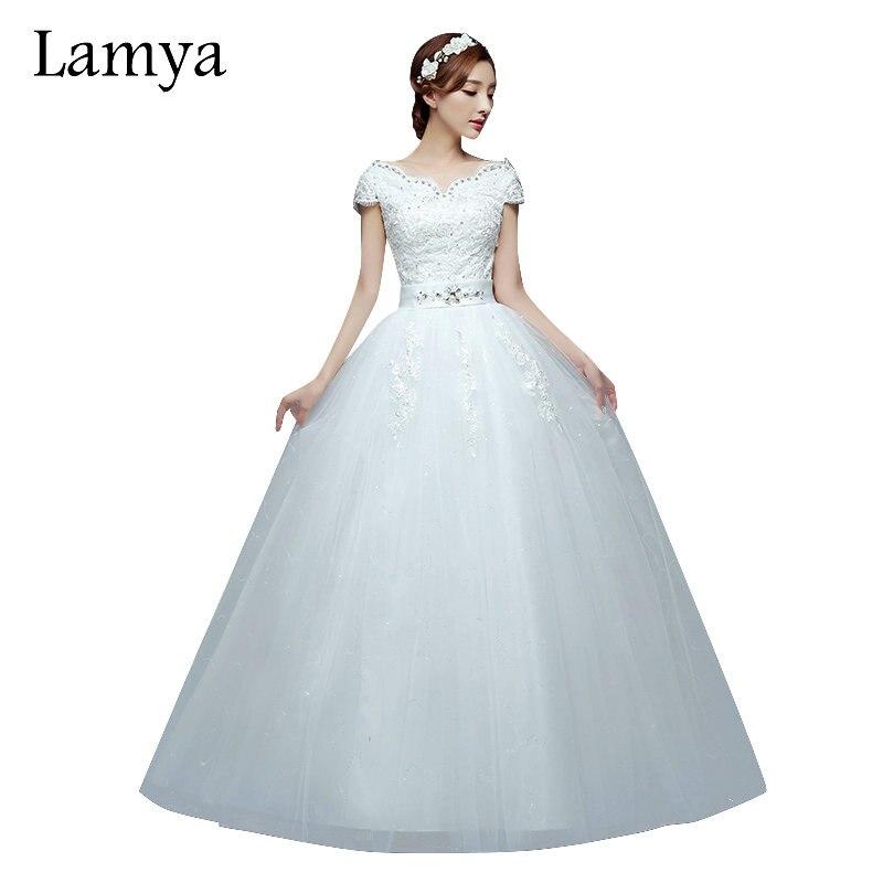 Lamya Vintage Short Lace Sleeve Wedding Dress 2018 Cheap Plus Size