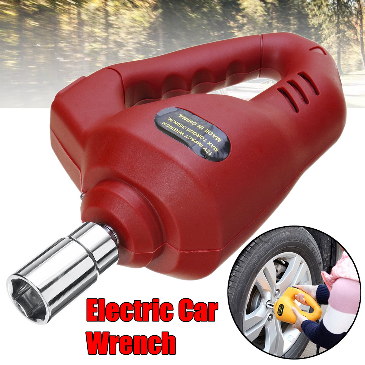 BRUniversal 12V 85W 350N.M Electric Impact Wrench car repair Electric wrench Car Socket Electric Impact Dril posenpro electric impact wrench 1 2 inch 350n m 12v car repair impact driver wrench gun kit auto tire tool