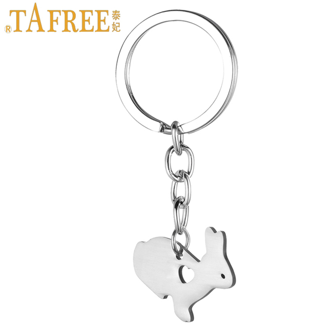 TAFREE cute little bunny women purse bag keychain stainless steel rabbit pendant key chain ring holder Easter gift jewelry SKU14