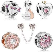 Couqcy New Arrival Heart Flower Butterfly Star Cartoon Crystal Beads Fit Original Pandora Charm Bracelets & Bangles DIY Jewelry