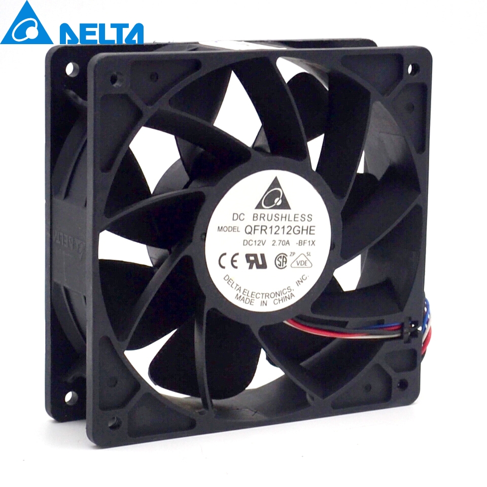 Free shipping original Delta QFR1212GHE 12V 2.70A 12038 12CM  6000RPM   server fan  cooling computer water cooling fan delta pfc1212de 12038 12v 3a 12cm strong breeze big air volume violent fan