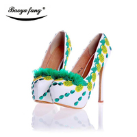 Green Flower Women Wedding Shoes 14cm High Heels Platform Shoes 2017 Female Shoes Real Leather Insole