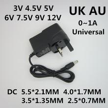 AC 110-240V DC 3V 4.5V 5V 6V 7.5V 9V 12 V 0.5A 1A 유니버설 어댑터 전원 공급 장치 충전기 12 V 볼트 LED 스트립 UK/AU 플러그