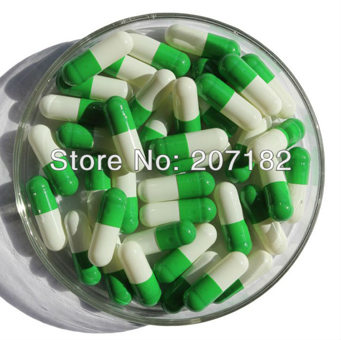 (5000pcs/pack) 0# Fruit Green/white Color Gelatin Capsule, Empty Capsule---cap And Body Separated Fragrant Aroma