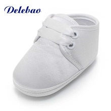 Delebao Spring/Autumn White Christening Baptism Prewalkers Baby Boy & Girl Lace-up Shoes Only Shipped To US