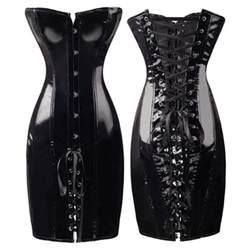 Abbille корсет платье Длинные Черный корсет с фиксацией стимпанк Готический Бюстье corselet Corpete кожа Overbust Корсеты Клубная одежда