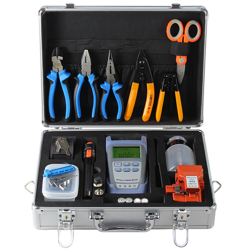 Fiber Optic fusion splicer Tool Kit with Fiber Cleaver and Optical Power Meter 10km Visual Fault Locator toolboxFiber Optic fusion splicer Tool Kit with Fiber Cleaver and Optical Power Meter 10km Visual Fault Locator toolbox