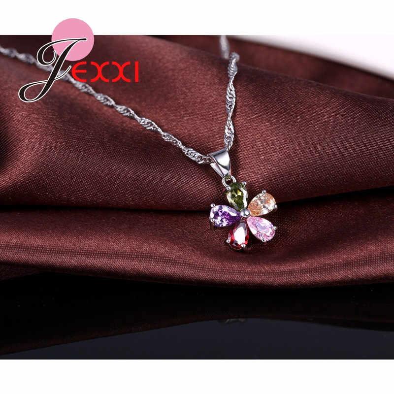925 סטרלינג כסף צבעוני מעוקב זירקון שרשרת תליון עגילי סט לנשים אופנה פרח כלה חתונה תכשיטים