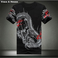 Chinese style dragon pattern embroidery printing t shirt homme 2016 Summer fashion quality cotton t shirt men Black,White M 4XL