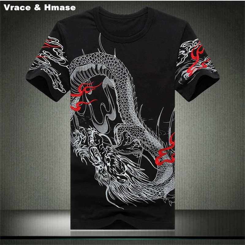 chinese style dragon pattern embroidery printing t shirt. Black Bedroom Furniture Sets. Home Design Ideas